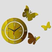 2015 new living room quartz acrylic home decoration 3d mirror wall clock modern diy digital watch sticker cart watch