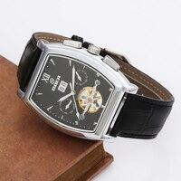 GOER Tourbillon Mechanical Watches PU Leather Strap Automatic Mechanical Wrist Watches Men Tonneau Watches Relogio Masculino