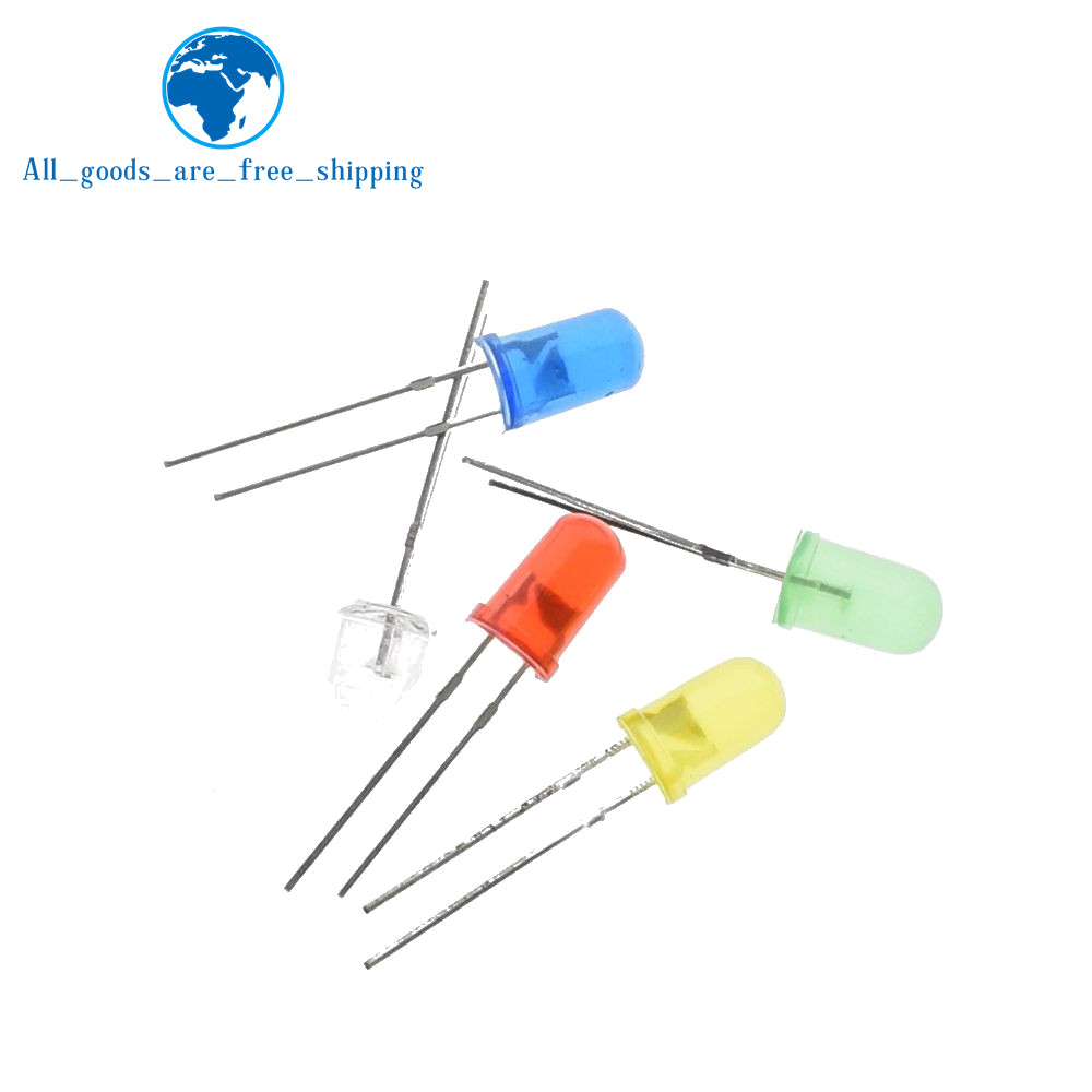 Diodes 1000pcs 5mm Led White/blue/red/yellow/green Light Bulbs Active Components 5mm White Colour Led Emitting Diode F5mm White Led