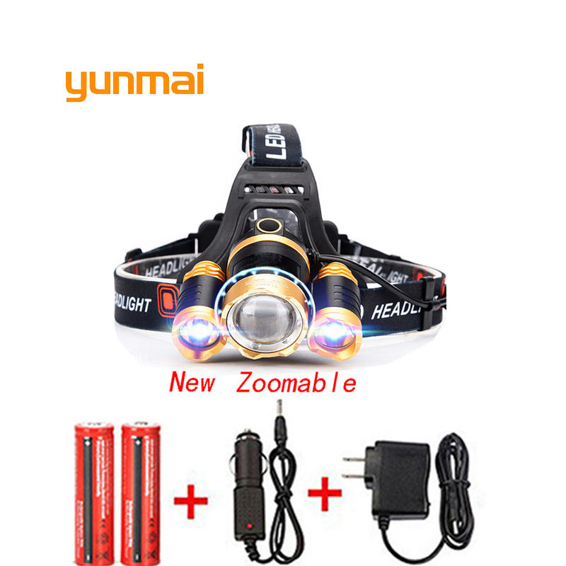 цена на T6 Xm-L+2Q5 Led Headlight 8000Lm Headlamp Flashlight Head Torch Linterna NEW Xml T6 18650 Battery/Ac Car Charger Fishing Light