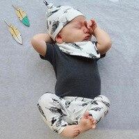 4pcs Feather Baby Clothing Set Baby Beanies Hat Cute Bib Burp Clothes Scarf Black Short Sleeve