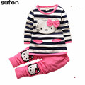 New Spring Autumn Baby Girls Clothes Set Striped Cartoons  Long-sleeved Cotton T-shirt + Casual Pants Kitty Cat Bow Kids Suit