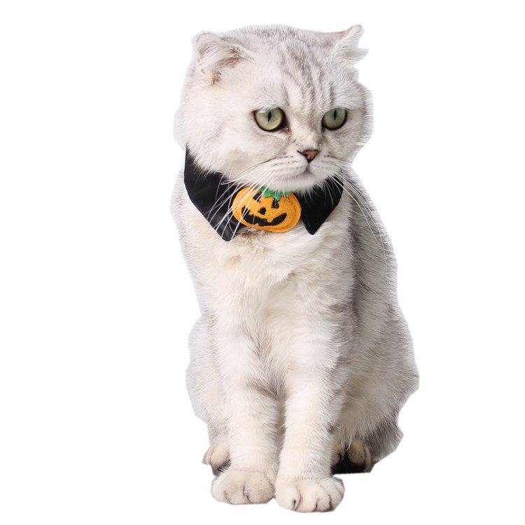 1pc Halloween Mischief Cat Small Dogs Necktie Collar Black Tie Pumpkin Bow-tie For Cat Pet Beauty Supplies