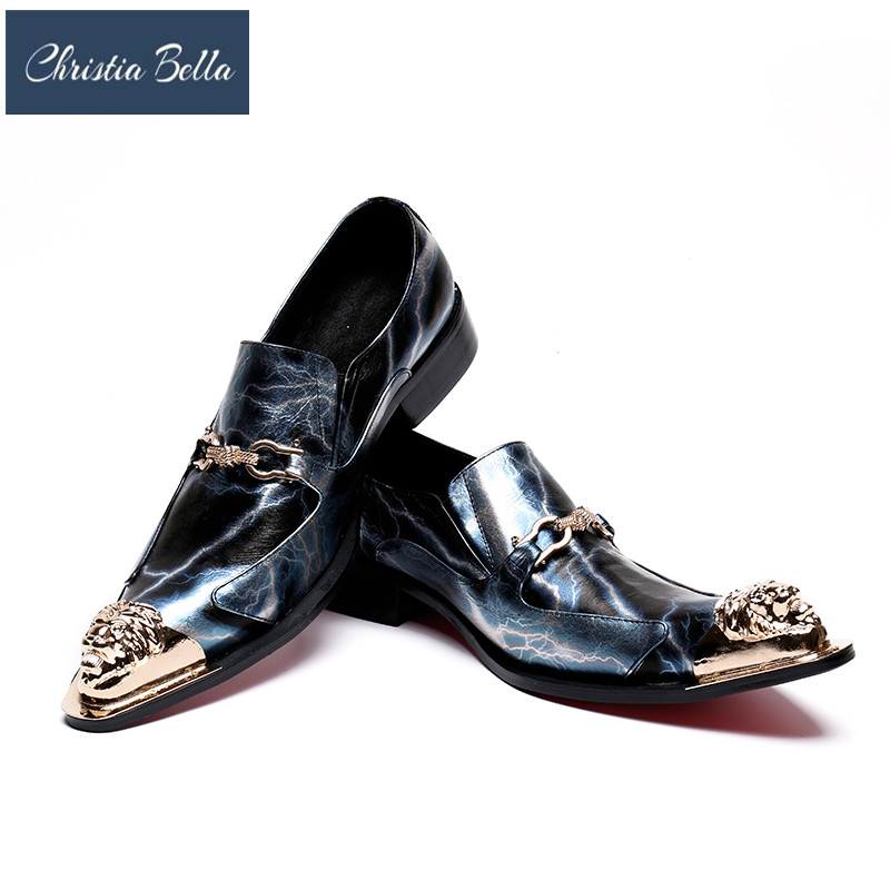 Christia Bella Luxury Wedding Shoes Men Genuine Leather Pointed Toe Business Oxford Shoes Formal Dress Shoes Male Flats Shoes