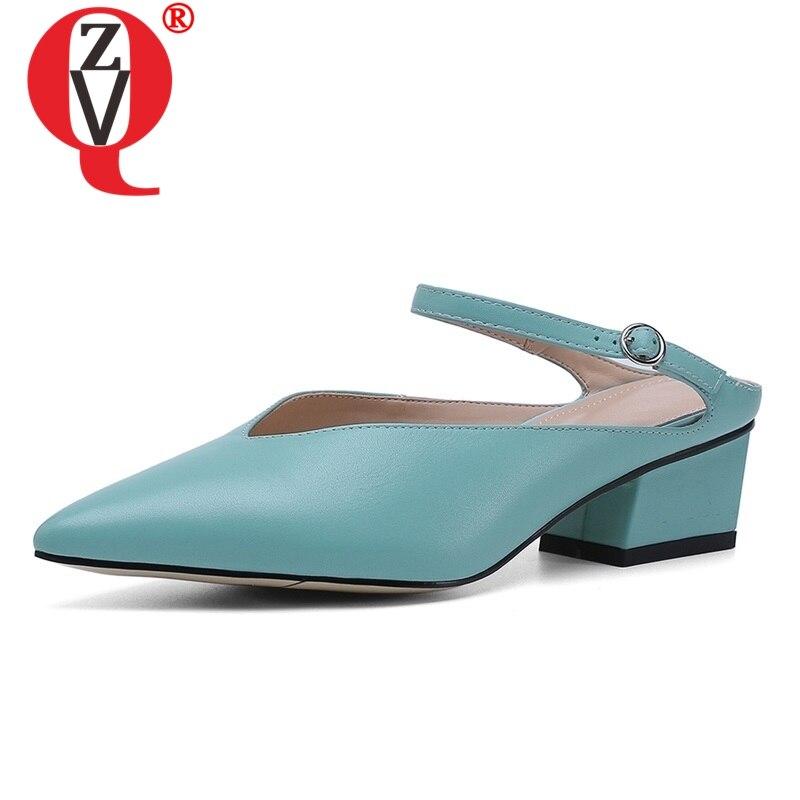 ZVQ scarpe delle donne 2019 di estate sexy di nuovo modo fibbia punta a punta pistoni delle donne al di fuori e confortevole tre colori più pattini di formato-in Pantofole da Scarpe su AliExpress - 11.11_Doppio 11Giorno dei single 1