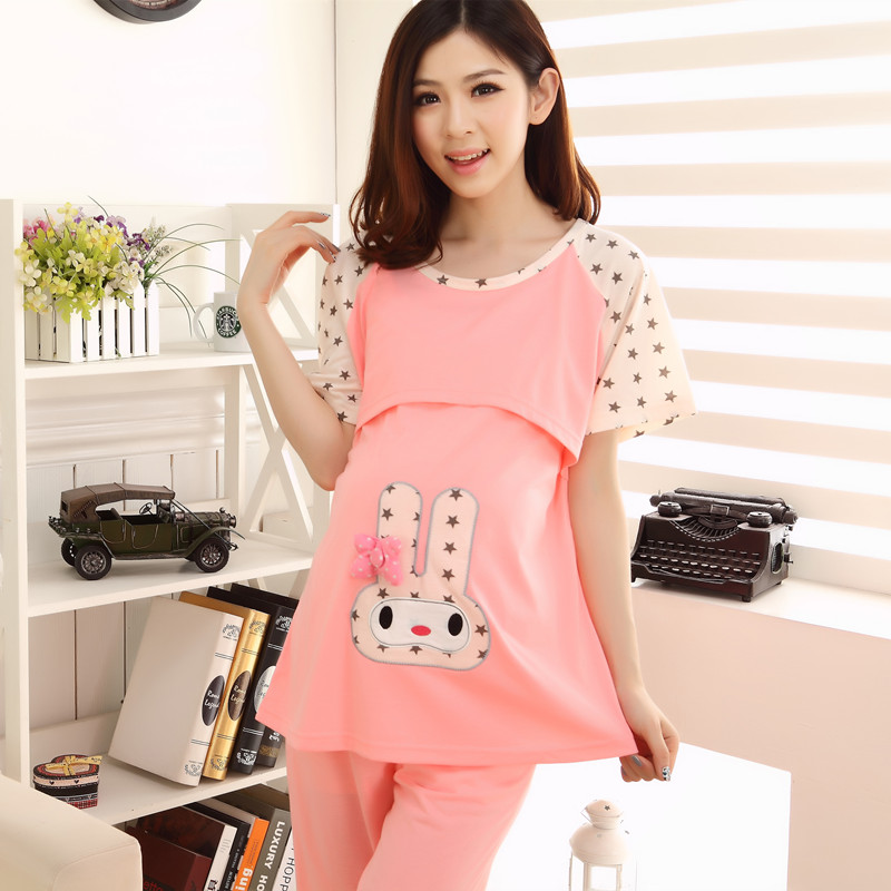 2017 New Pregnant Women Summer Pajamas Sets Short Sleeve Cartoon Breastfeeding T Shirt Maternity Sleepwear Lounge