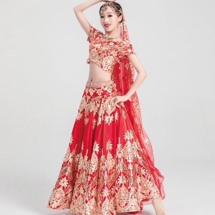 Sarees Wedding India  Woman Wedding Costume Ethnic Style Lehenga Choli Performance Gorgeous Suits Top+skirt+scarf+pants