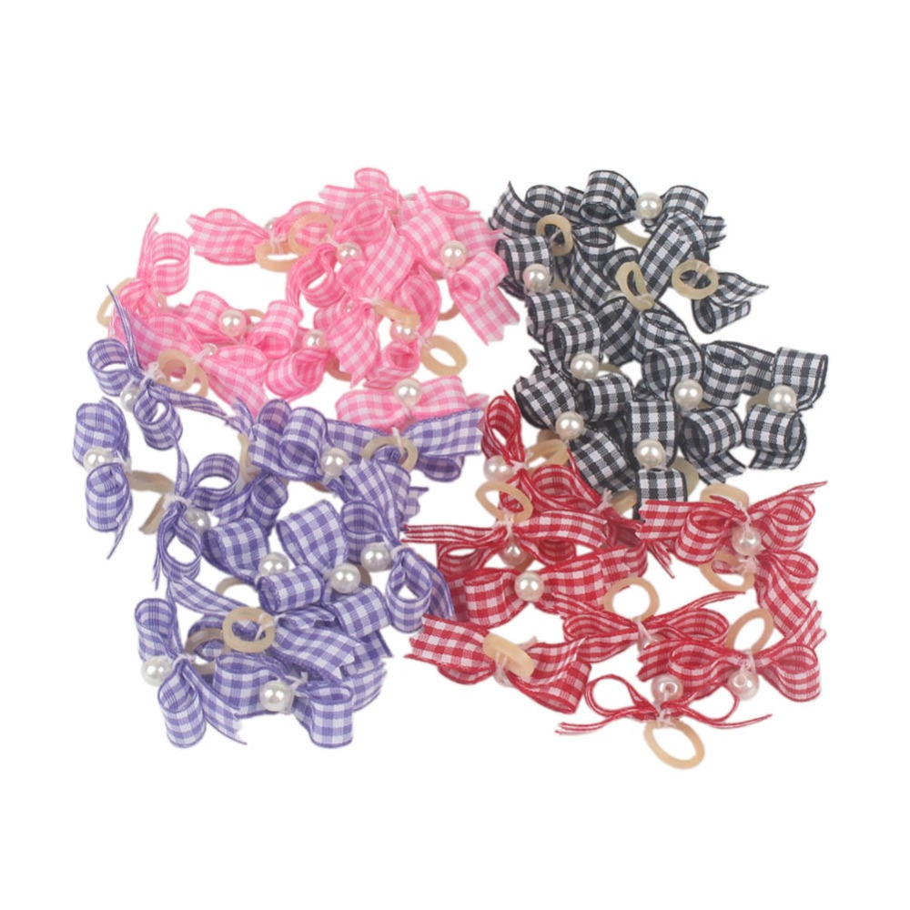 b2ca7d9c048c 50pcs Multi-colored Dogs Bows Hair Accessories Plaid Imitation Pearl Rubber  Band Bowknots Handmade Topknots for Long Hair Dogs