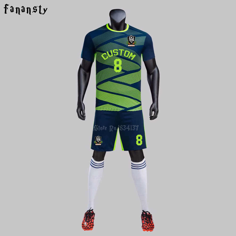 c0229431c New Football Jerseys Men Quick Dry Breathable Customized logo name number  High Quality Soccer uniforms Training
