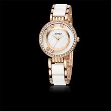 KIMIO reloj de la Marca de Moda de Lujo de Oro de Las Mujeres de Cerámica Relojes de Vestir Señoras de Cristal de Diamante de Cuarzo Analógico Reloj Relojes Mujer 2016