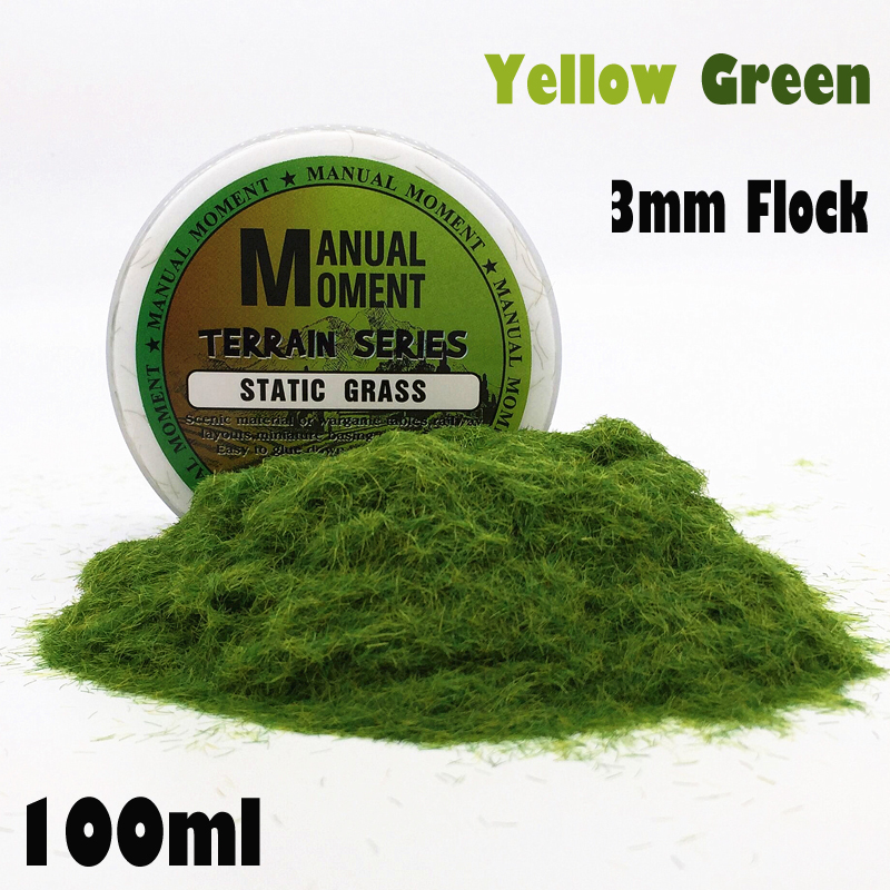 Miniature Scene Model Materia  Yellow Green Turf Flock Lawn Nylon Grass Powder STATIC GRASS 3MM Modeling Hobby Craft  Accessory