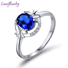 Solid 18K White Gold Blue Sapphire Diamond Wedding Ring Luxury Fine Jewelry Genuine Gem for Women Christmas Gift