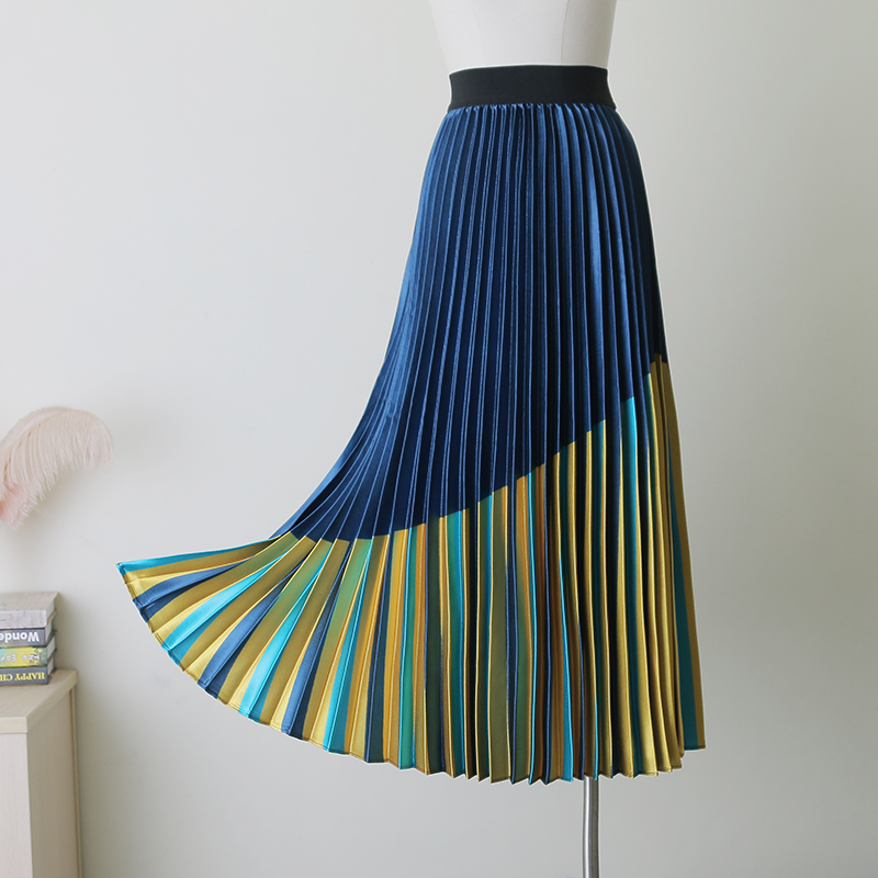 High Street Fashion Spring Summer Women Skirts 2019 Elegant Ladies Elastic High Waist Color Block Print Mid Calf Pleated Skirt-in Skirts from Women's Clothing    1