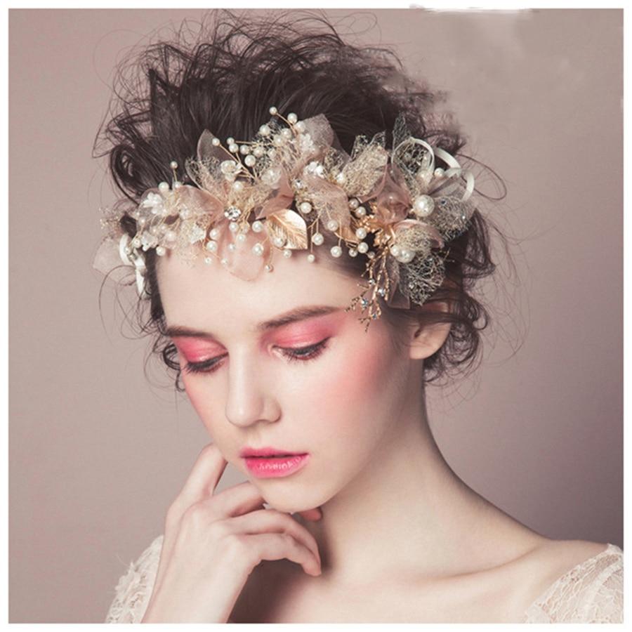 1pc 2017 New Design Elegant Fashion Bridal Wedding Rhinestone Imitate Pearl Beads Headband Hair Jewelry Parting Headpiece Silk