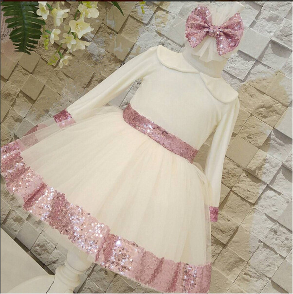 2017 new fashion kids girl dress long sleeve with pink sequin and bow sash ball gown birthday girl frocks for prom guess new pink long sleeve ruched body con dress xl $89 dbfl