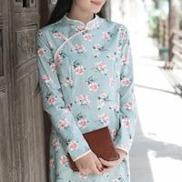 Autumn New Retro Stand Collar Plate Button Long Sleeve Floral Improved Cheongsam Dress Temperament Cotton