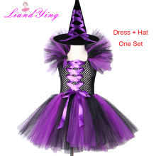 Girls Witch Tutu Dress with Hat Purple Black Witch Costume Clothes Tulle Fancy Girls Carnival Party Dress Kids Halloween Cosplay цены онлайн