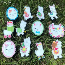 Prajna Cartoon Llama Iron On Patches For Clothing Unicorn Rainbow Embroidery Cute Style Stickers Clothes Applique Kid DIY