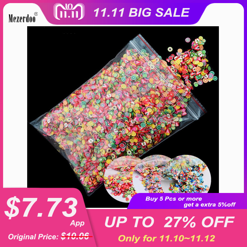10000pcs/pack 3D Nail Art Fruit Fimo Slices Polymer Clay DIY Slice Decoration Smile Feather Nail Sticker Nail Jewelry Wholesale 50pcs cane polymer clay nail art stickers 3d fruit and flower cutted rolls stamp decal tip cute printer diy nail sticker
