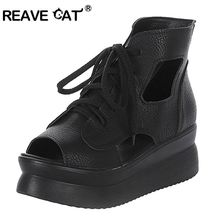REAVE CAT New Summer Women shoes High heels Platform sandals Cutout Lace up Solid Peep toe Black White Fashion EURO 34-39 QL4391