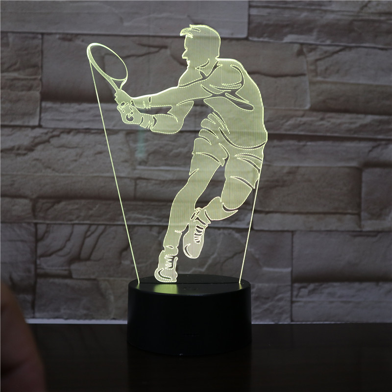 Tennis Player Figure Remote 3d Led Night Light Home Office Room Decorative Nightlight for Kids Birthday Gift Table Desk Lamp