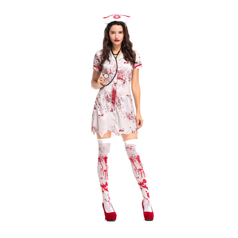 Mulher Adulto Sangrento Zumbi Hacker Enfermeira Traje De Halloween Fantasias Assustadoras Aliexpress