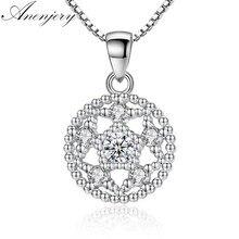 ANENJERY – collier avec pendentif rond en argent Sterling 925, Micro Zircon, fleur de lotus, pour femmes, S-N254