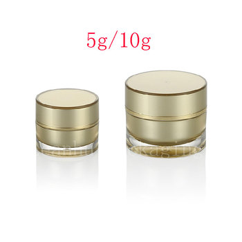 5g 10g  Gold Empty Round Acrylic Cream Jar container Small  sample Cosmetic Pot ,Golden eye cream Cosmetics Packaging tin bottle
