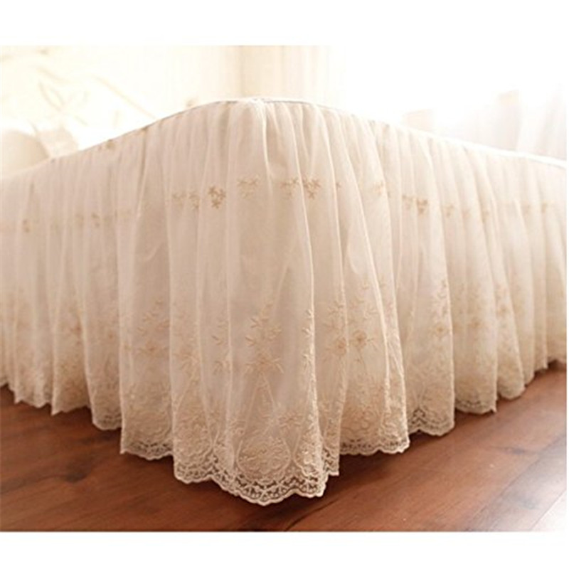 FADFAY Home Textile 100 Cotton Queen Bedding Luxury White Lace Bed Skirt Romantic Girls Bed Sheets Elegant Teen Skirted Sheet