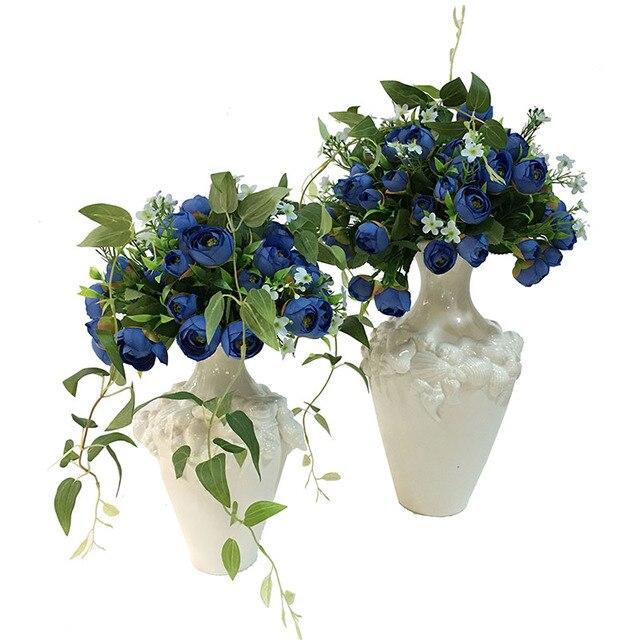 1 pcs 7 heads artificial flowers blue silk peony european fall vivid 1 pcs 7 heads artificial flowers blue silk peony european fall vivid peony fake leaf wedding mightylinksfo