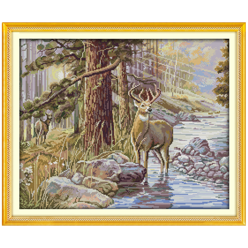 Stag Patterns Counted Cross Stitch 11CT 14CT Cross Stitch Set Wholesale Animals Cross-stitch Kits Embroidery Needlework