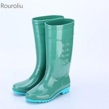 Rouroliu Women Flat Heels Tall Rainboots PVC Waterproof Water Shoes Wellies Fashion Non-Slip Warm Rain Boots Woman RT348 rouroliu women ankle work rain shoes flat heels non slip female pvc rainboots waterproof water shoes woman wellies rb173
