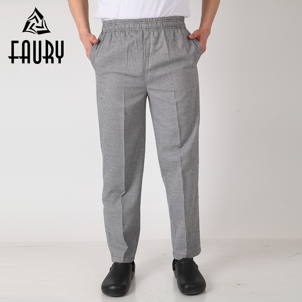 Men Chef Restaurant Kitchen Work Elastic Waistband Cozinha Hotel Food Service Working Pants Long Trousers With Pockets