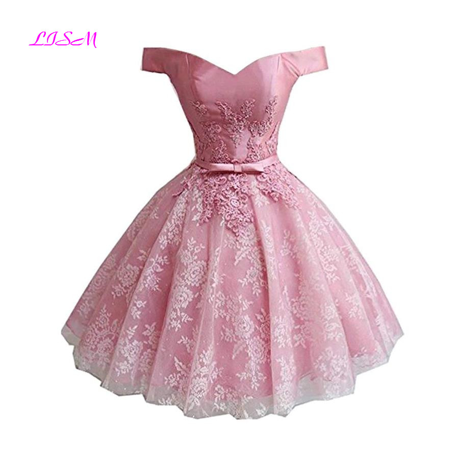 Princess Off The Shoulder Mini Homecoming Dress Short Lace Applique Party Dress Pink Tulle Cocktail Gowns Vestidos De Graduacion