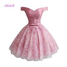 cf5f5d6b71 Księżniczka Off the Shoulder Mini Homecoming sukienka krótki koronki  aplikacja sukienka na imprezę różowy tiul suknie