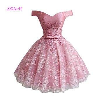 Princess Off the Shoulder Mini Homecoming Dress Short Lace Applique Party Dress Pink Tulle Cocktail Gowns vestidos de graduacion pink off the shoulder bat sleeves mini dress