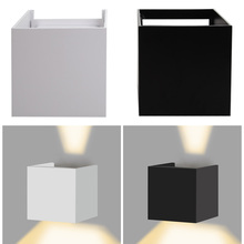 Check Discount Waterproof  Led IP67 Surface Wall Mounted Indoor/Outdoor Cube White/Black Up and Down Wall Corridor Garden Decoration Light #LO