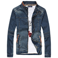 New men's denim jacket collar Slim male fashion to do the old zipper jeans jacket Men 4XL 5XL