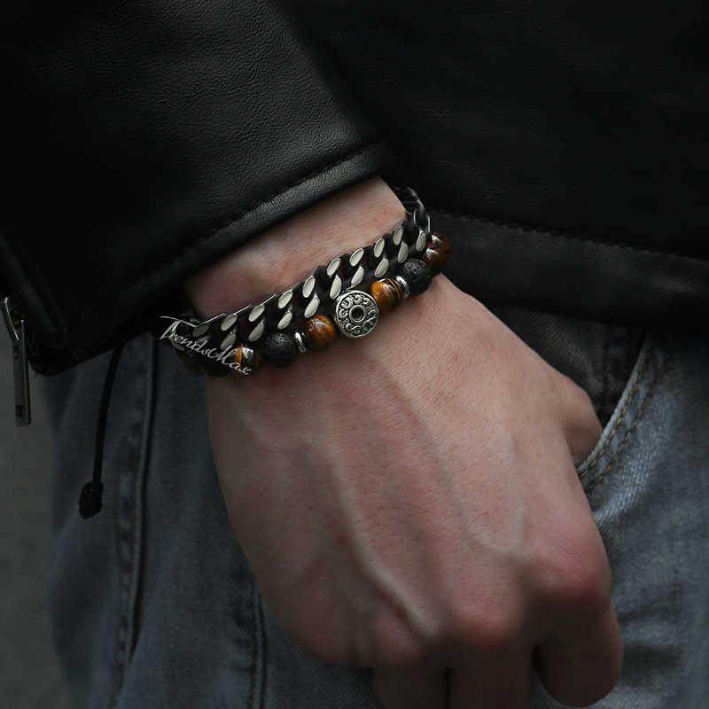 Męskie paciorki bransoletki tygrysie oko kamień naturalny bransoletka Strand 2018 kubański Link Chain biżuteria męska prezenty dla mężczyzn sprzedaż hurtowa DLB68
