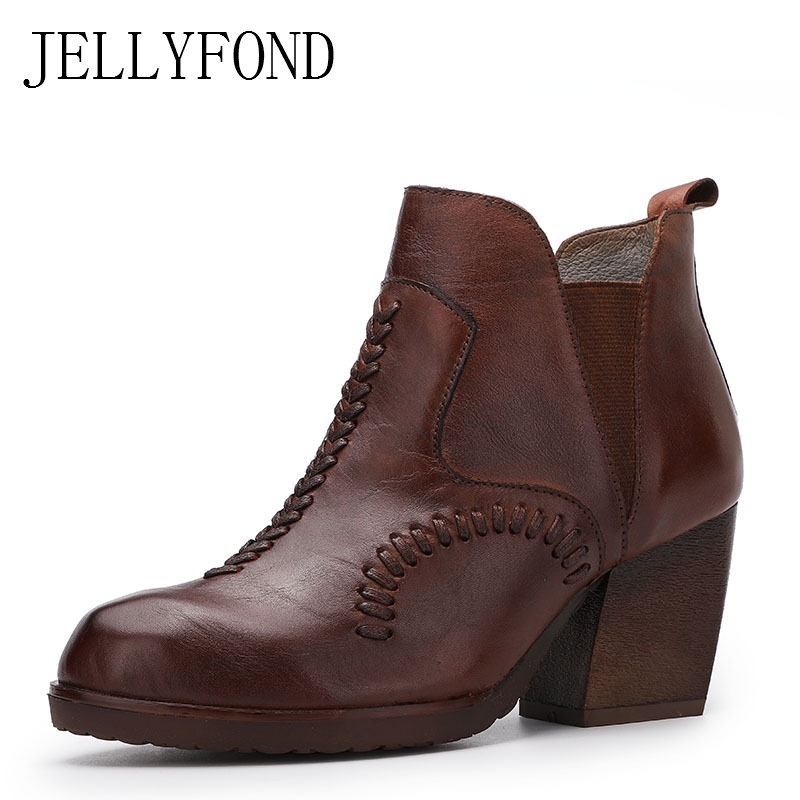 JELLYFOND Designer Women Chelsea Boots 2018 Vintage Handmade Knit Genuine Leather Platform High Heels Ankle Boots Autumn Shoes jellyfond designer autumn winter shoes woman 2018 handmade genuine leather big bow platform high heels ankle boots chelsea boots