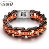 Hot Sale 20MM Wide Orange Black Motorcycle Chain Bracelets Top Quality 316L Stainless Steel Mens Bracelets