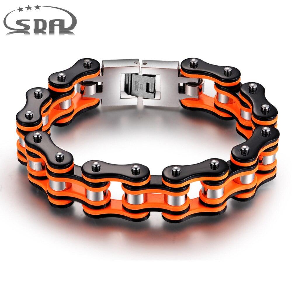 Vendita calda Arancione Moto nera Braccialetti Chain, braccialetti degli uomini Dell'acciaio inossidabile 316L di alta qualità 16mm larghezza Monili YM079 SDA