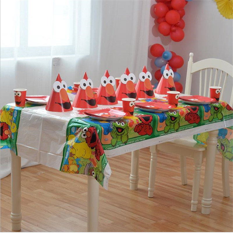 Elmo Seasame Street Disposable Tablecloth Elmo Disposable Plates Tablecloths Cups Elmo Birthday Party Kid Supplies in Disposable Party Tableware from Home Garden