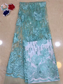 2018 African Cord Lace High Quality French Lace Fabric With beads Sequins African Lace Fabric For Nigerian Wedding Dress green