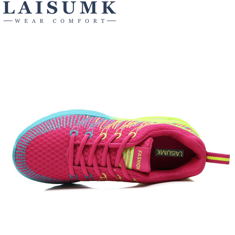 2019 LAISUMK Lace Up Woman Casual Walking Shoes Air Mesh Women Breathable Shoes Fashion Sneakers Shoes Tenis Feminino in Women 39 s Vulcanize Shoes from Shoes