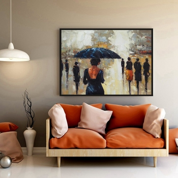 Handpainted Canvas Oil Painting Knife Painting Rainy Day Landscape Vintage Home Decor for Bedroom Christmas Decorations for Home