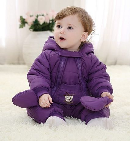 e33c93f74 Baby Coverall Padded Romper Thick Warm Winter Clothes Newborn Baby ...