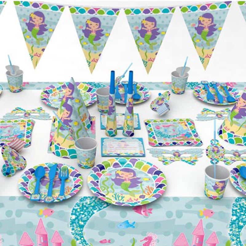 Mermaids Party Decoration Tableware Kit 1st Happy Birthday Party Paper Banner/Cups/Plate/Napkin Baby Shower Party Supplies