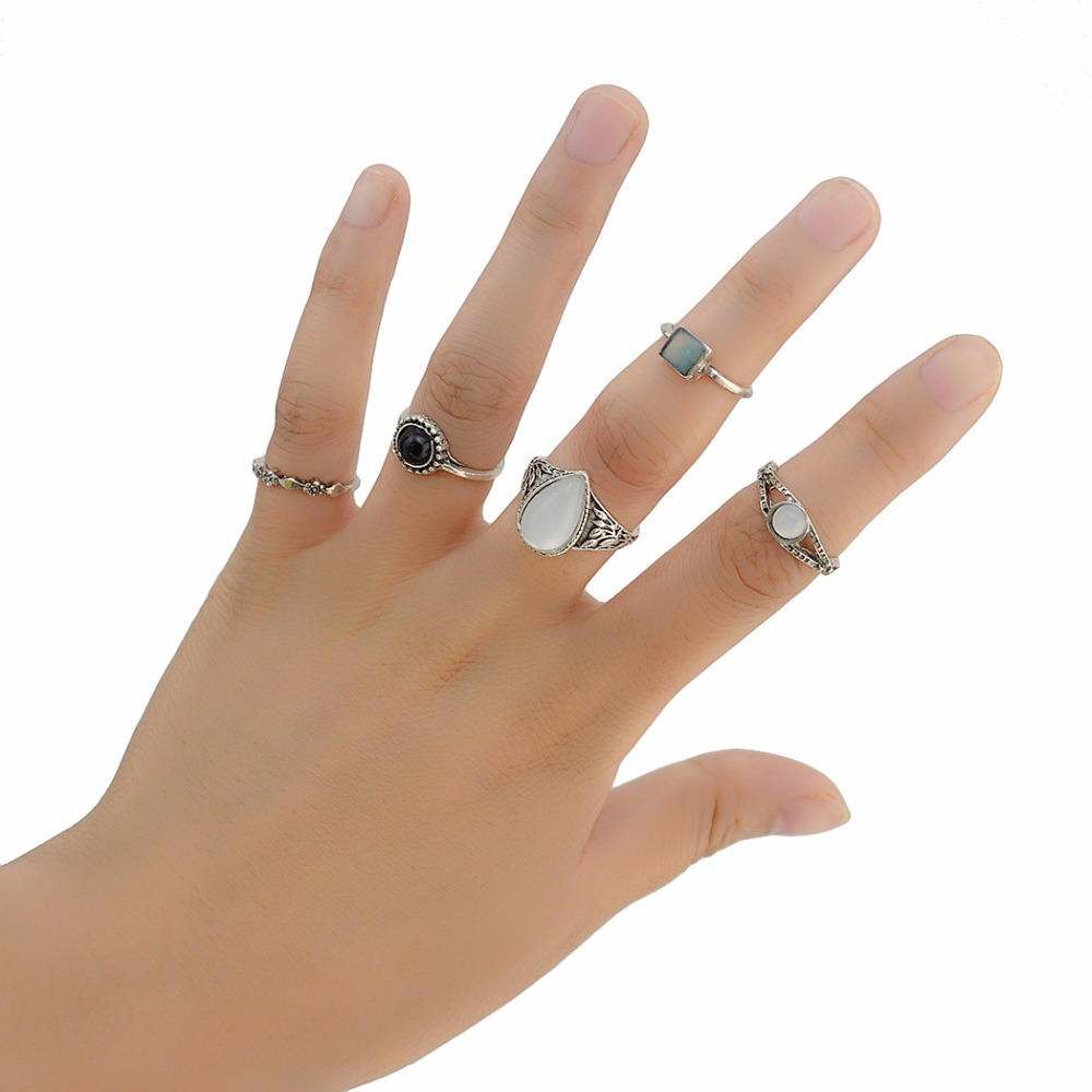 Idealway 8pcs/set New Women Rhinestone Ring Antique Silver Plain Knuckle Bohemian Midi Ring Sets Fashion Jewelry anillo vintage