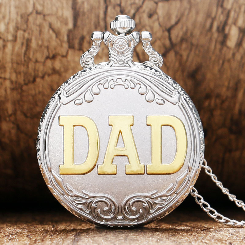 Matte Silver & Golden DAD Theme Design Pocket Watches With Necklace Chain Best Gift To Father Grandfather